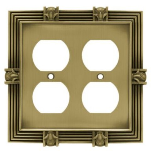 Franklin Brass Pineapple Double Duplex Wall Plate; Tumbled Antique Brass