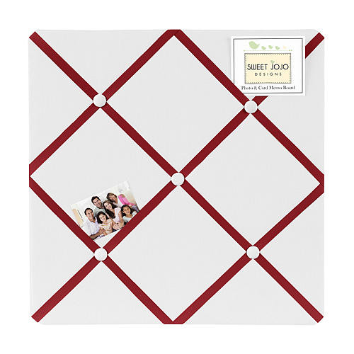 Sweet Jojo Designs White and Red Hotel Collection Fabric Memo Board