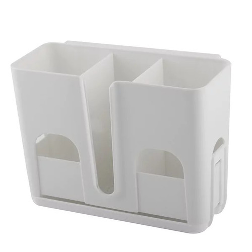 Unique Bargains Houdehold Plastic 3 Compartments Wall Mount Suction Cup Hanging Shelf White