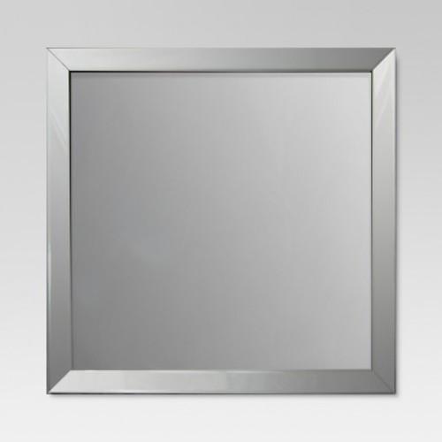 Square Beveled Decorative Wall Mirror Silver - Threshold