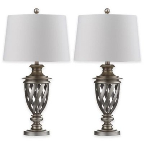 Safavieh Byron Table Lamps in Antique Silver with Cotton Shades (Set of 2)