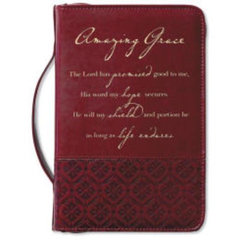 Amazing Grace Italian Duo-Tone Rich Red Bible Cover