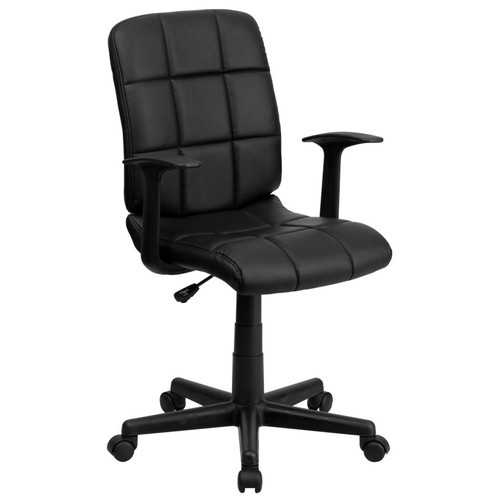 Flash Furniture Mid-Back Quilted Vinyl Task Chair With Nylon Arms, Black