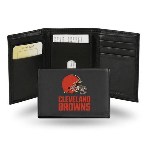 Rico Cleveland Browns Men's Black Leather Tri-fold Wallet