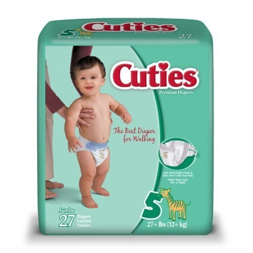 Cuties Premium Baby Diapers, Size 5, Case/108 (4 bags of 27)