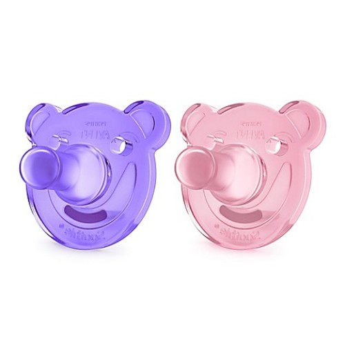 Philips Avent 0-3 M 2-Pack Soothie Shape Pacifier in Pink/Purple