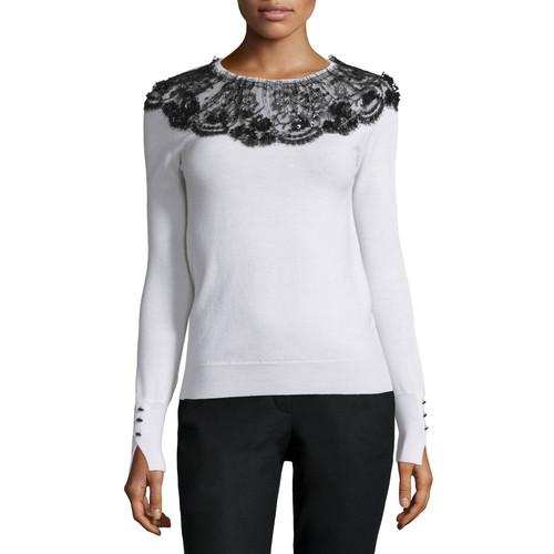 OSCAR DE LA RENTA Long-Sleeve Lace-Collar Knit Sweater, Black/White
