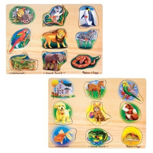 Melissa & Doug Sound Puzzles Set: Pets and Wild Animals Wooden Peg Puzzles 2pc