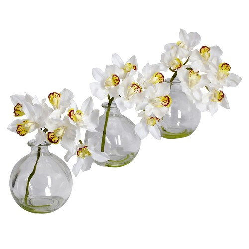 Nearly Natural 8 in. H White Cymbidium with Vase Silk Flower Arrangement (Set of 3)