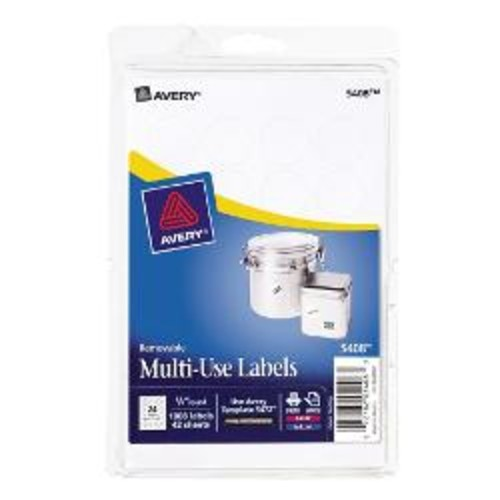 Avery Removable Round Inkjet/Laser Multi-Use ID Labels, 3/4