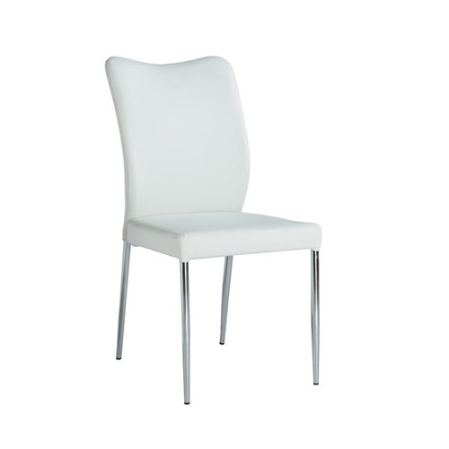 Christopher Knight Home North White PU/Chrome Curvy-back Dining Chair (Set of 2) - Curvy Back Side Chair