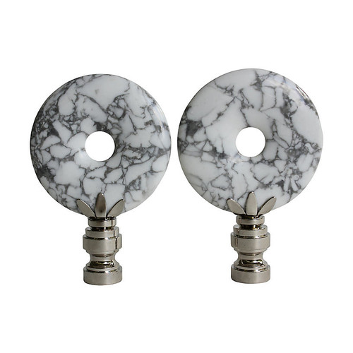 Marbled White Howlite Lamp Finials, Pair