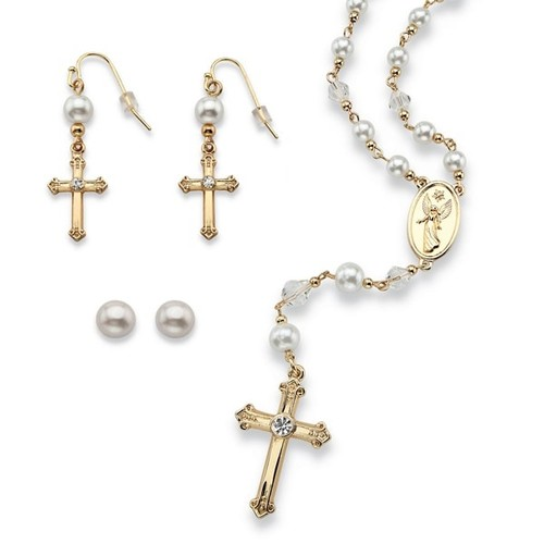 Round Simulated Pearl and Crystal Rosary Necklace and Earrings Set in Gold Tone Naturalist - Set