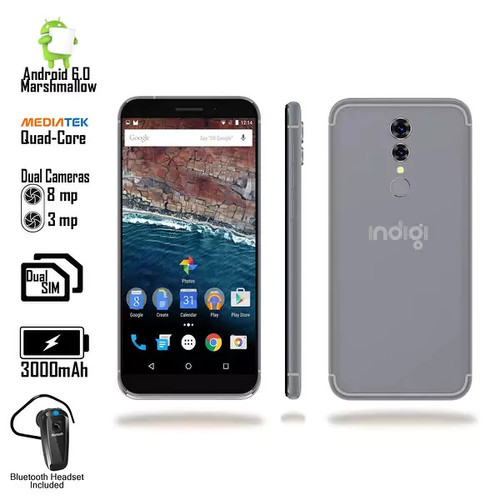Indigi UltraSlim Android 6.0 OS DualSim 4G SmartPhone AT&T Unlocked + BH320 included - Black