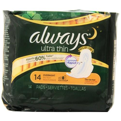 Always Pads, Ultra Thin, Overnight, 14 pads