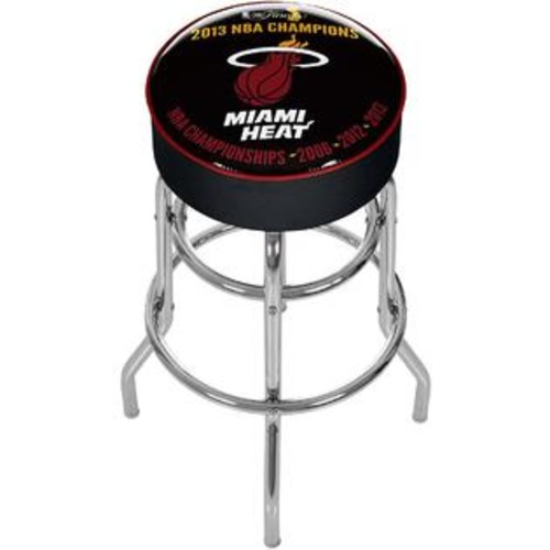 TRADEMARK GLOBAL MIAMI HEAT 2013 CHAMPIONS CHROME PADDED SWIVEL BAR STOOL