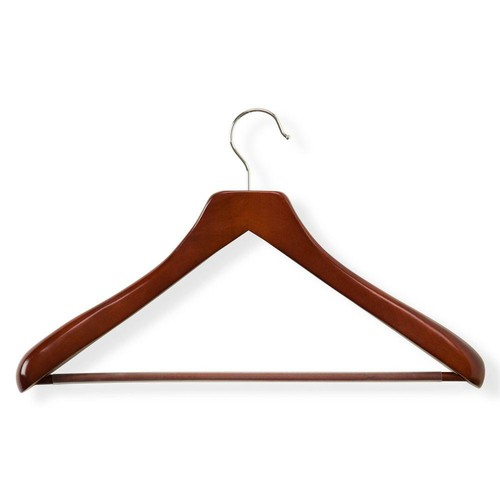 Honey-Can-Do Wooden Cherry Finish Deluxe Contoured Suit Hanger with Non-Slip Bar
