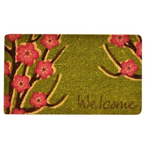 HomeTrax Designs Outdoor Welcome Floral 1 ft. 6 in. x 2 ft. 6 in. Coir Door Mat