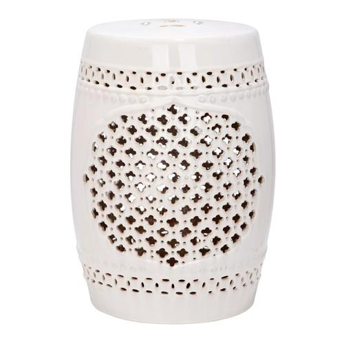 Safavieh Castle Gardens Collection Quatrefoil Ceramic Garden Stool, Cream [Cream]