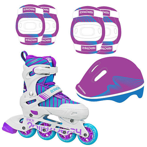 Roller Derby Carver Inline Combo Skate and Protective Gear Girl Medium - Blue/Purple