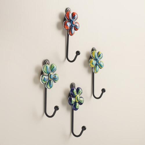 Ceramic Flower Hooks Set of 4