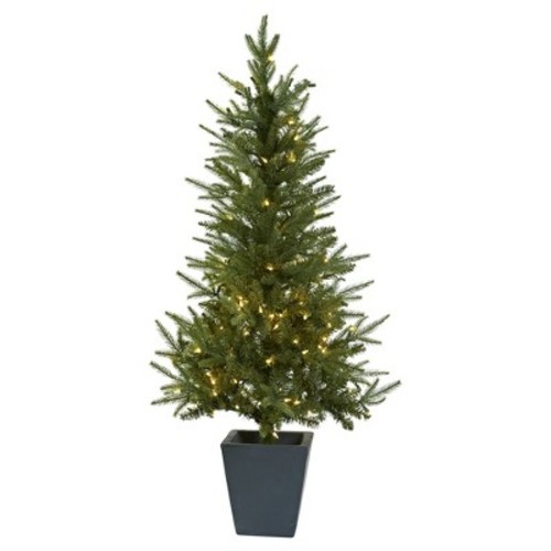 Artificial 4.5ft Christmas Tree With Clear LED Lights & Decorative Planter - Nearly Natural