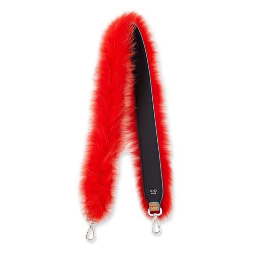 Strap You Fox-Fur Shoulder Strap for Handbag, Navy/Red