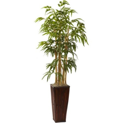 Nearly Natural 4' Bamboo with Decorative Planter