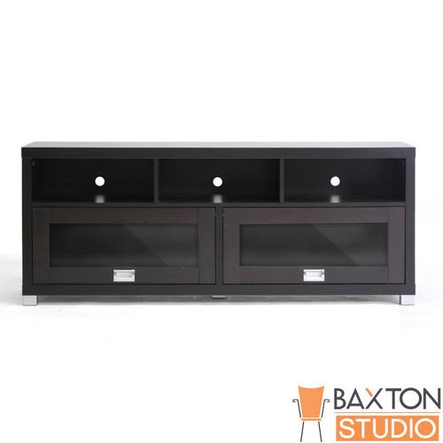 Baxton Studio Swindon Modern TV Stand with Glass Doors