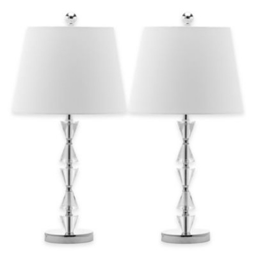 Safavieh Deco Prisms Crystal Table Lamps with Tapered Drum Shades (Set of 2)