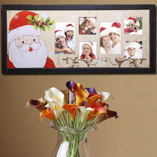 6 Opening Decorative Painted Pine Santa Claus Wall Hanging Collage Picture Frame