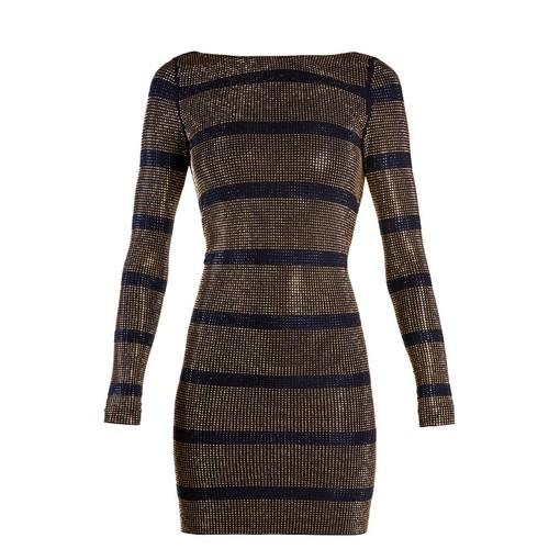 Boat-neck crystal-embellished striped mini dress