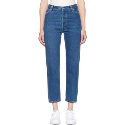 RE/DONE Indigo High-Rise Straight Crop Jeans