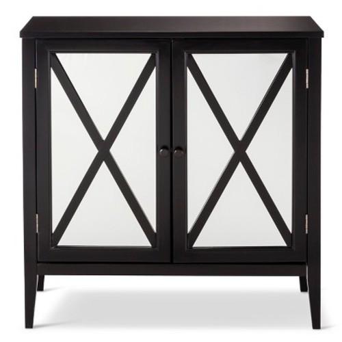 Wooddale Two-Door Mirrored Storage Cabinet Black - Threshold