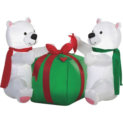 Gemmy Airblown Inflatable Polar Bear Cubs - 82961