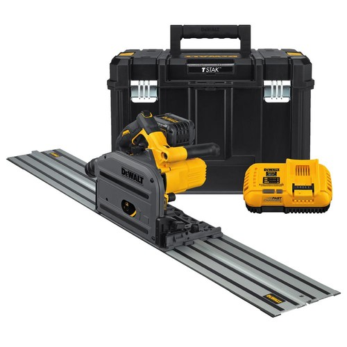 DEWALT FLEXVOLT 60-Volt MAX Lithium-Ion Cordless Brushless 6-1/2 in. Track Saw Kit with Battery 2Ah, Charger, Case and Track