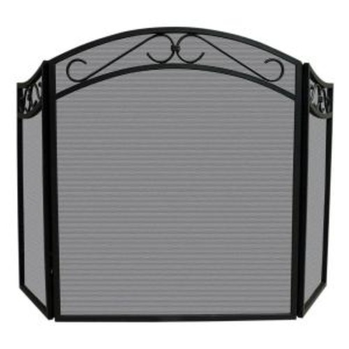 UniFlame Arch Top Black Wrought Iron 3-Panel Fireplace Screen with Decorative Scrolls