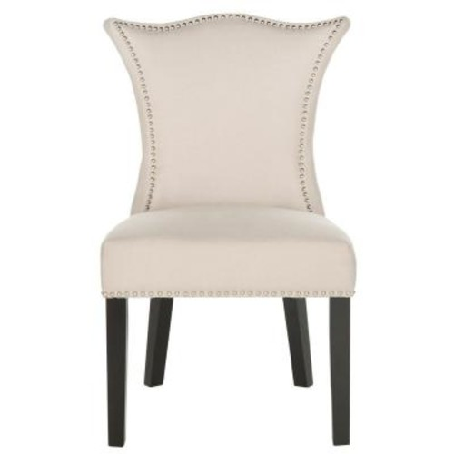 Safavieh Ciara Taupe/Espresso Linen Side Chair (Set of 2)