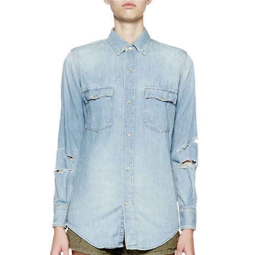 SAINT LAURENT Long-Sleeve Distressed Denim Top