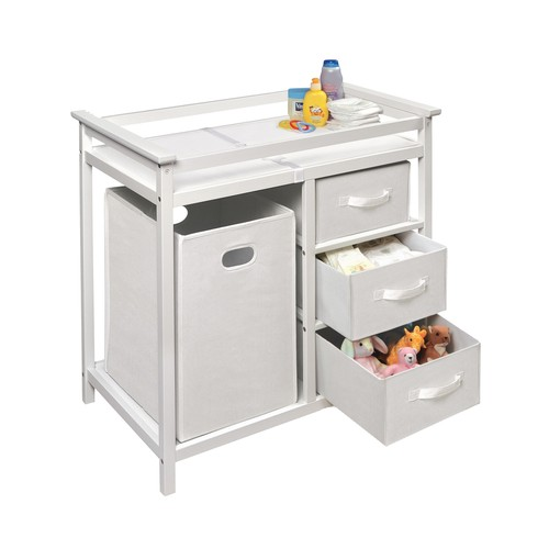 Badger Basket Modern Changing Table with 3 Baskets and Hamper, White [White]