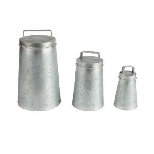 Lone Elm Studios Galvanized Metal Round Canisters with Lids (3-Pack)