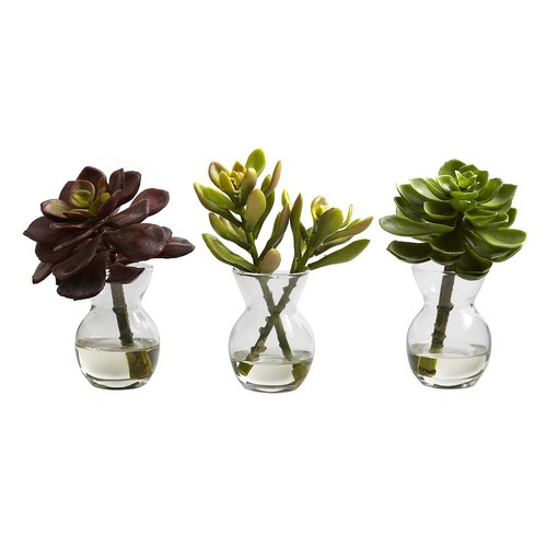 Nearly Natural Succulent Arrangements, 3pk