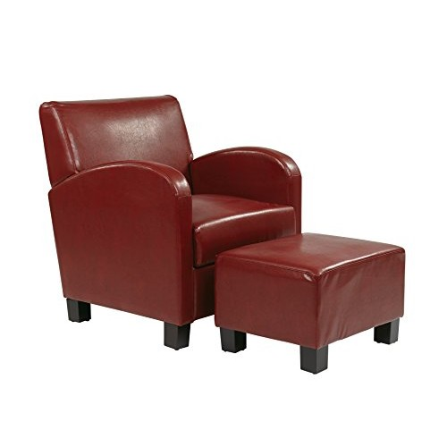 Office Star Metro Club Chair with Ottoman in Eco Leather, Crimson Red [Crimson Red]