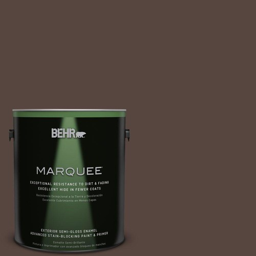 BEHR MARQUEE 1-gal. #PMD-91 Iced Espresso Semi-Gloss Enamel Exterior Paint