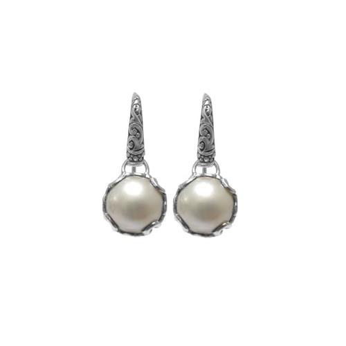 Handmade Sterling Silver Mabe Pearl Dangle Earrings (12 mm) (Indonesia)
