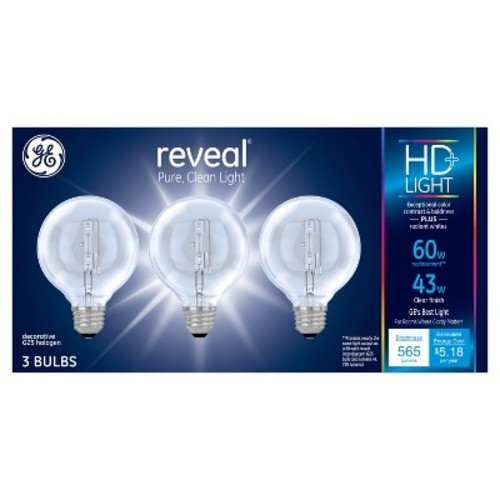 GE Reveal 40-Watt Energy Efficient Halogen Light Bulb (3-Pack)