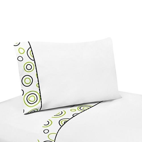 Sweet Jojo Designs Spirodot 4-Piece Queen Sheet Set in Lime/Black