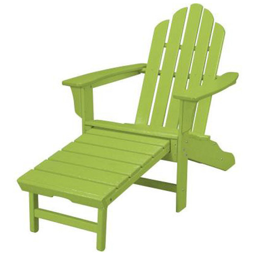 Hanover All-Weather Adirondack Chair w/Attached Ottoman - Lime Green