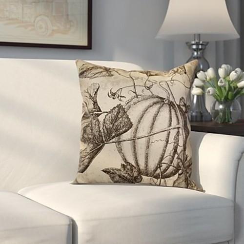 Alcott Hill Miller Antique Pumpkin Floral Outdoor Throw Pillow; 18'' H x 18'' W x 2'' D