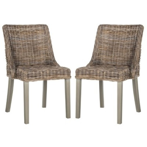 Safavieh Caprice Wicker Dining Chair with Leather Handle, Natural, Set of 2